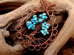 turquoise  tree of life. wire wrapped tree. by TheSeventhOak, $35.00