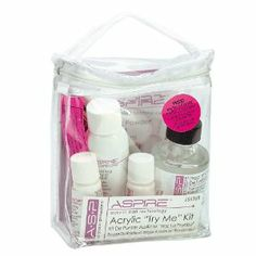 ASP Try Me Acrylic Nail Kit by ASP. $22.99. Step-by-step instructional DVD. Four shades: pink, white, intense pink & clear. Easy to use and work with. The best clarity, due to the smaller atomic + molecular structure (no air pockets). Nano Technology developed to make this the finest powder available. The ASP Aspire Try Me Kit is a kit that offers a sample of each powder & liquid to do a full set of nails.