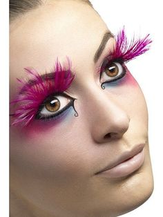 fantasy makeup using pink feathered eyelashes - Google Search