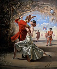 """""""Royal Tango"""" by Michael Cheval -Original Oil on Canvas 20 x 16 Surrealism Painting, Pop Surrealism, Art Visionnaire, Dance Paintings, Oil Paintings, Magic Realism, Salvador Dali, Wassily Kandinsky, Michel"""