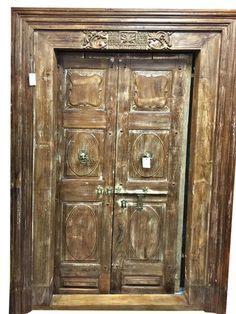Solid Wood Antique Double Doors Wid Frame India Furniture Wall Panel