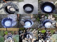 Make a Decorative Pond From Old Tires