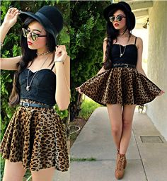 leopard skater skirt + black lace bustier--looove this look!!!