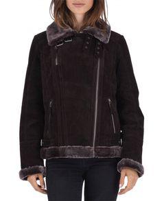 Blouson cuir femme style bombardier SHAWN 2 par POLE NORD fourrure synthétique