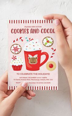 A sweet Cookies and Cocoa Christmas Party Invitation. Invite your friends to join you for some delicious treats and hot chocolate this holiday season! #christmasparty #cookiesandcocoa