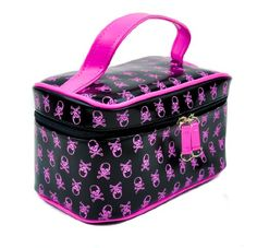 Black & Pink Crossbones Makeup Bag / Purse