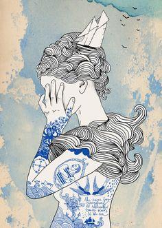 """Illustriertes Poster """"Seemanns Tochter"""", Kunst / illustrated art print, inked sailor's daughter made by Hellicopter via DaWanda.com"""