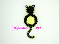 Tutorial Superduo CAT Pendant. Pattern to by ButterflyBeadKits. Superduos, Seed beads size 15/o, 11/o, 8/o, 24mm Cabochon