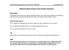 Minimize Nervousness and Anxiety Checklist http://tinylls.com/10IIOvq | This is for instructors to use to prepare before they lead a course!