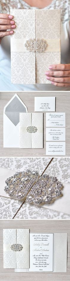 Open up to this #gatefold wedding invitation featuring a darling #damask pattern and stunning crystal brooch! #EngagingPapers: