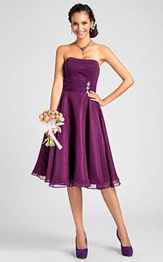 a-line trägerlosen knielangen Kleid Brautjungfer