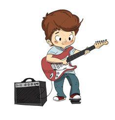 Boy playing the guitar. Guitar or music course - Dibustock, Ilustraciones infantiles de Stock Chibi Boy, Cute Chibi, Funny Drawings, Cartoon Drawings, Boys Playing, Playing Guitar, Ukulele Drawing, Guitar Doodle, Guitar Sketch