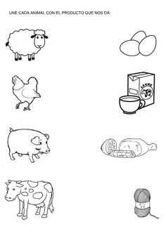Products from farm animals match and color Preschool Learning Activities, Preschool Curriculum, Preschool Activities, Kids Learning, Kindergarten Math Worksheets, Worksheets For Kids, Money Worksheets, Therapy Worksheets, Addition Worksheets