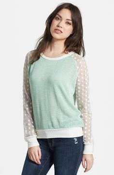 Olivia Moon Sheer Sleeve Sweater | Nordstrom