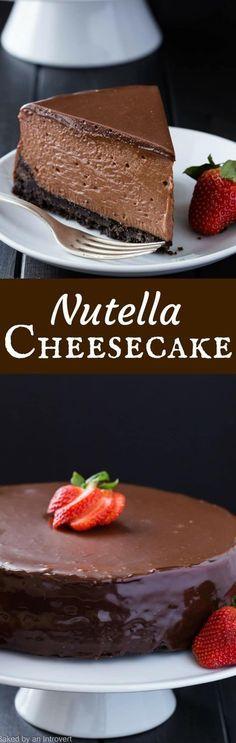 Nutella Cheesecake Recipe   Cheesecake   Decadent   Dessert   Made from Scratch   Homemade via @introvertbaker