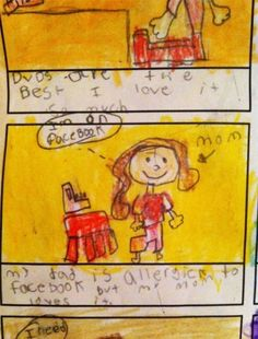 Honest Kid's Drawings That Exposed Secrets Of Their Parents. We as a whole have encountered how children can be devilish, charming and brilliant. Funny Kids, Cute Kids, Kids Test Answers, Funny Images, Funny Pictures, Funny Drawings, Kid Drawings, Kids Notes, Funny Jokes