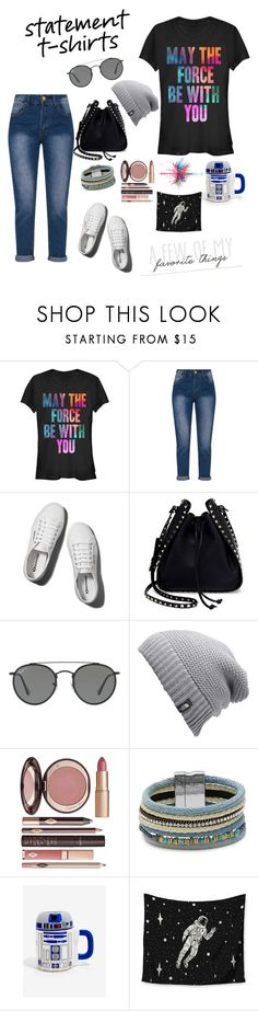 """""""statement t-shirts #1"""" by ms-jaramaya ❤ liked on Polyvore featuring Abercrombie & Fitch, Valentino, Ray-Ban, The North Face, Charlotte Tilbury, Design Lab, Kess InHouse and Givenchy"""