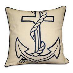 Thro Anchor Embroidered Pillow - 1959 Navy