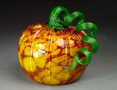 Hand Blown Glass Pumpkin  Garden Harvest by dunnikerdesigns, $50.00