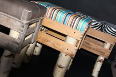 wine crate chairs with birchwood