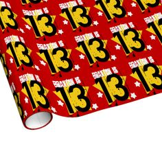 13th Birthday Grunge Number and Stars V05 Gift Wrap Paper $17.95. To see more birthday wrapping paper, go to http://www.zazzle.com/jaclinart/products/cg-196333019616737524 #birthday #giftwrap #teen #teenager #gift #present #wrap #party
