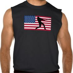 Baseball Player American Flag Sleeveless Tees Tank Tops
