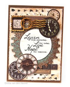 "Emilia van den Heuvel: Mixed Media ""Learn, Live, Hope"" card {SA Crafters}"