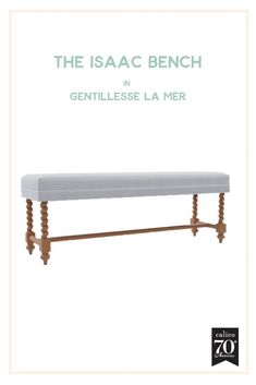 A simple bench style becomes a standout piece thanks to the Isaac Bench's distinctive turned wood legs and the beautifully textured Gentillesse la Mer fabric with a gorgeous seafoam backdrop and fun, funky cream dots. In a bedroom, nestled into an entrywa Cottage Farmhouse, Farmhouse Design, Cottage Style, Rustic Farmhouse, Turned Wood, 70th Anniversary, Contemporary Home Decor, Farmhouse Furniture, Furniture Collection