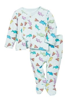 Pizza Shark Kimono Top & Footed Pants Set (Baby Boys) by Rosie Pope on @nordstrom_rack