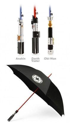Lightsaber umbrella.  I want Obi-Wan's. - Click image to find more Geek Pinterest pins