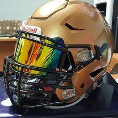 SHOC Orange Iridium Visor on a Riddell SpeedFlex football helmet