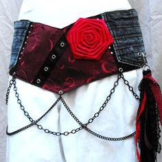 Steampunk corset belt, goth hip belt, rose accent, OOAK gift, burgundy statement belt, rocker chic, unique
