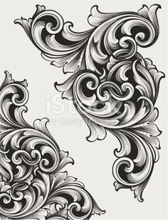 Designed by a hand engraver. Highly detailed authentic engraving… Designed by a hand engraver. Change color and scale easily with the enclosed EPS and AI files. Also includes hi-res JPG. Filigrana Tattoo, Tattoo Drawings, I Tattoo, Swirl Tattoo, Baroque Frame, Motif Arabesque, Metal Engraving, Engraving Ideas, Leather Pattern