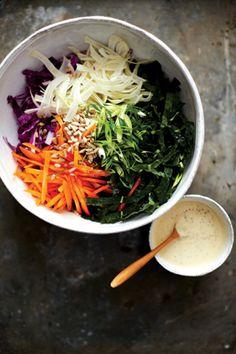 Kale slaw with creamy mustard dressing