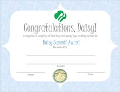 Daisy Summit Award Certificate - image only Girl Scout Bridging, Girl Scout Troop, Brownie Girl Scouts, Girl Scout Daisy Petals, Daisy Girl Scouts, Certificate Images, Award Certificates, Girl Scout Levels, Troop Beverly Hills