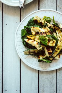 Chargrilled zucchini and halloumi cheese tossed with a mint oil and baby spinach leaves. Lunch couldn't be simpler!...