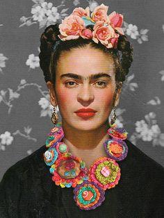 Frida Kahlo avec un collier en crochet, montage photo. #fridakahlo #necklace