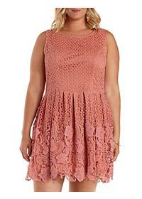 Plus Size Mixed Lace Skater Dress..in a different color, this would be better.