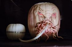 Fantastic Ood pumpkin! The dangly bits are painted plastic snakes!