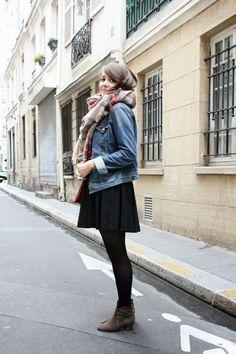 C B C M G: Le plaid - Pimkie denim jacket - HandM little black dress - Zara plaid maxi scarf - Mango red pouch bag - Isabel Marant Dickers suede boots