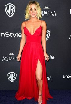 Kaley Cuoco Brings the Heat in a Plunging Red Dress at the... #KaleyCuoco: Kaley Cuoco Brings the Heat in a Plunging Red Dress… #KaleyCuoco