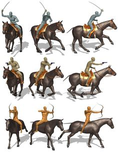 Cavalry Combat for Michael 6 is a set of poses for a troop of mounted warriors. Included are 95 total poses for Archers, Lancers, Swordsmen, Musketeers, and Pistoleros. Horse Riding, Troops, Bowser, Moose Art, Lion Sculpture, Statue, Drawings, Fictional Characters, Animals