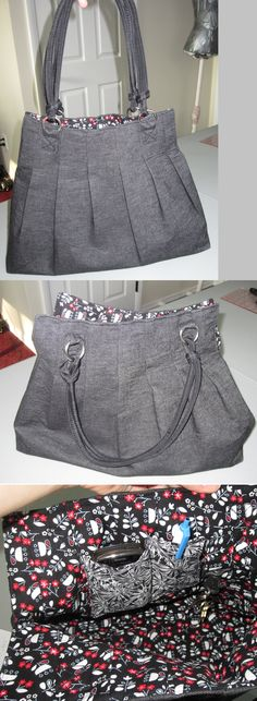 "Finally finished the ""For Pleats Sake"" bag from U-Handbags. (http://u-handbag.typepad.com/uhandblog/2010/08/free-bag-purse-pattern-for-pleats-sake-tote.html). This is super cute. I added a cell phone pocket, a small pocket, and a hook for keys so they don't get lost in the roomy interior!!"