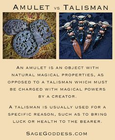 What's the difference between an amulet and talisman? An amulet is an object with natural magical properties, as opposed to a talisman which must be charged with magical powers by a creator. A talisman is usually used for a specific reason, such as to bring luck or health to the bearer. #metaphysical