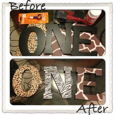 One animal print letters