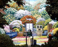 Gardener`s Cottage - (Jacek Yerka) #surrealism #art #painting #colorful #interior #garden #yerka