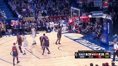 LeBron James from the logo... nearly half court! #NBAAllStar
