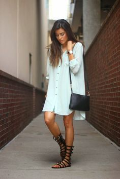 An oversized shirtdress and gladiator sandals is casual weekend wear perfection. For a more fitted look, add a belt at the waist in a pop color or keep it neutral with black or cognac.