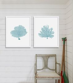 Blue Coral Print Beach Cottage Decor Blue Wall by CocoAndJamesHome