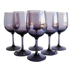 Vintage Wine Glasses, Set of 6